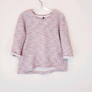 Gray Pink Textured Nubby Sweater Top 3/4 Sleeves